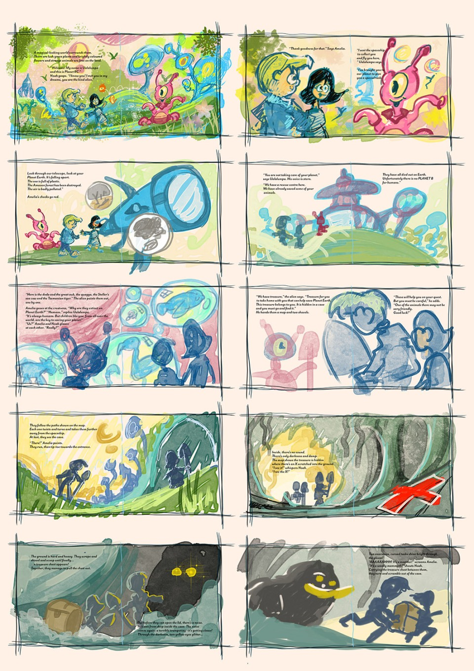 1500xThe Hidden Spaceship STORYBOARD 2 - Spreads 11-20 TEXT